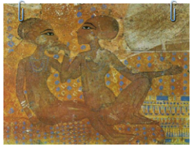 Intravital Portraits of the Ancients.  Image of daughters of Akhenaten and Nefertiti on the wall of the Akhetaton palace (modern El Amarna)