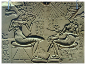 Intravital Portraits of the Ancients. Akhenaten, Nefertiti and their children. Relief image on a slab from Akhetaton (modern El Amarna), Berlin museum